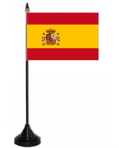 Spain Desk Table Flag With Plastic Stand And Base