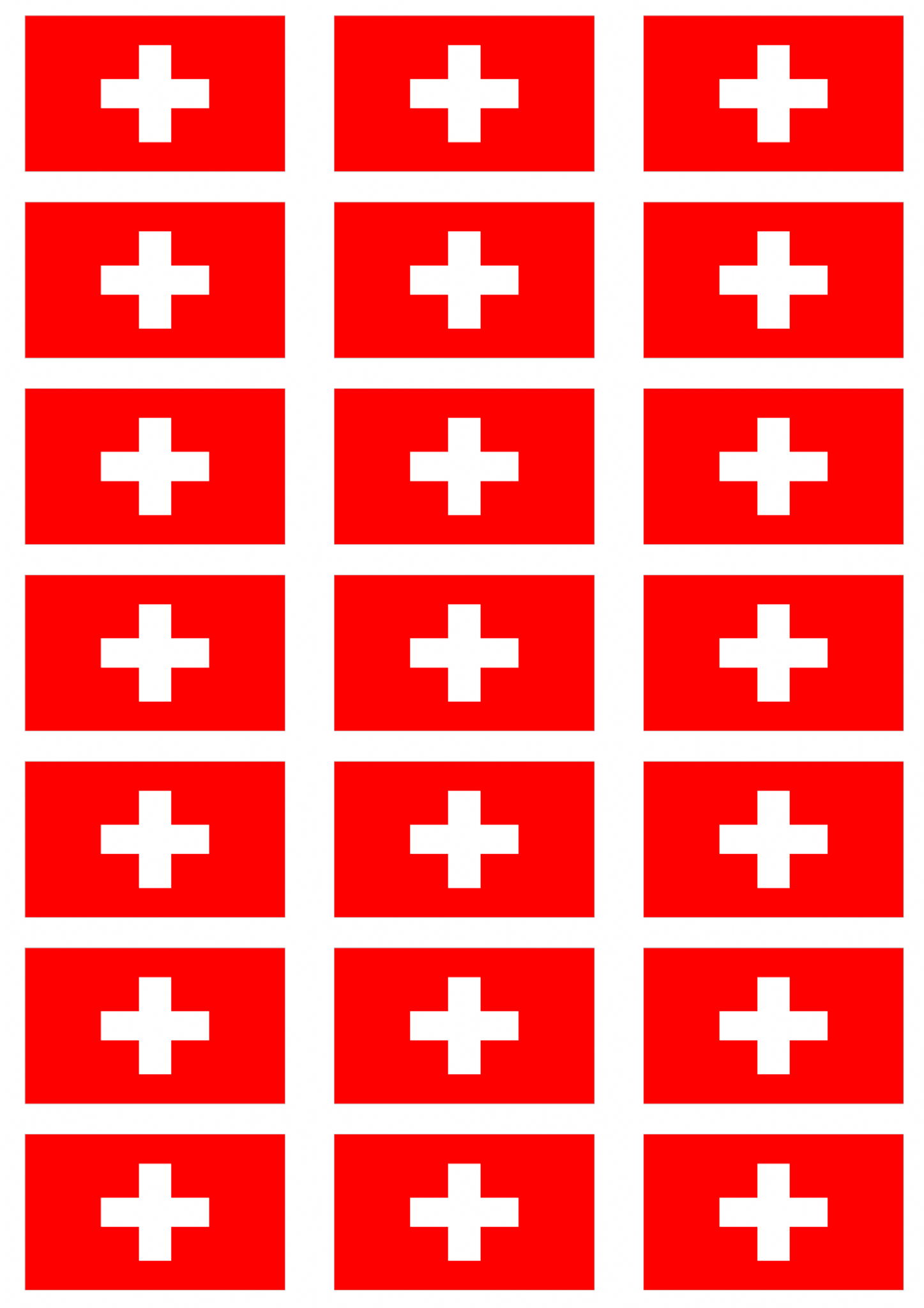 Switzerland Flag Stickers 21 Per Sheet