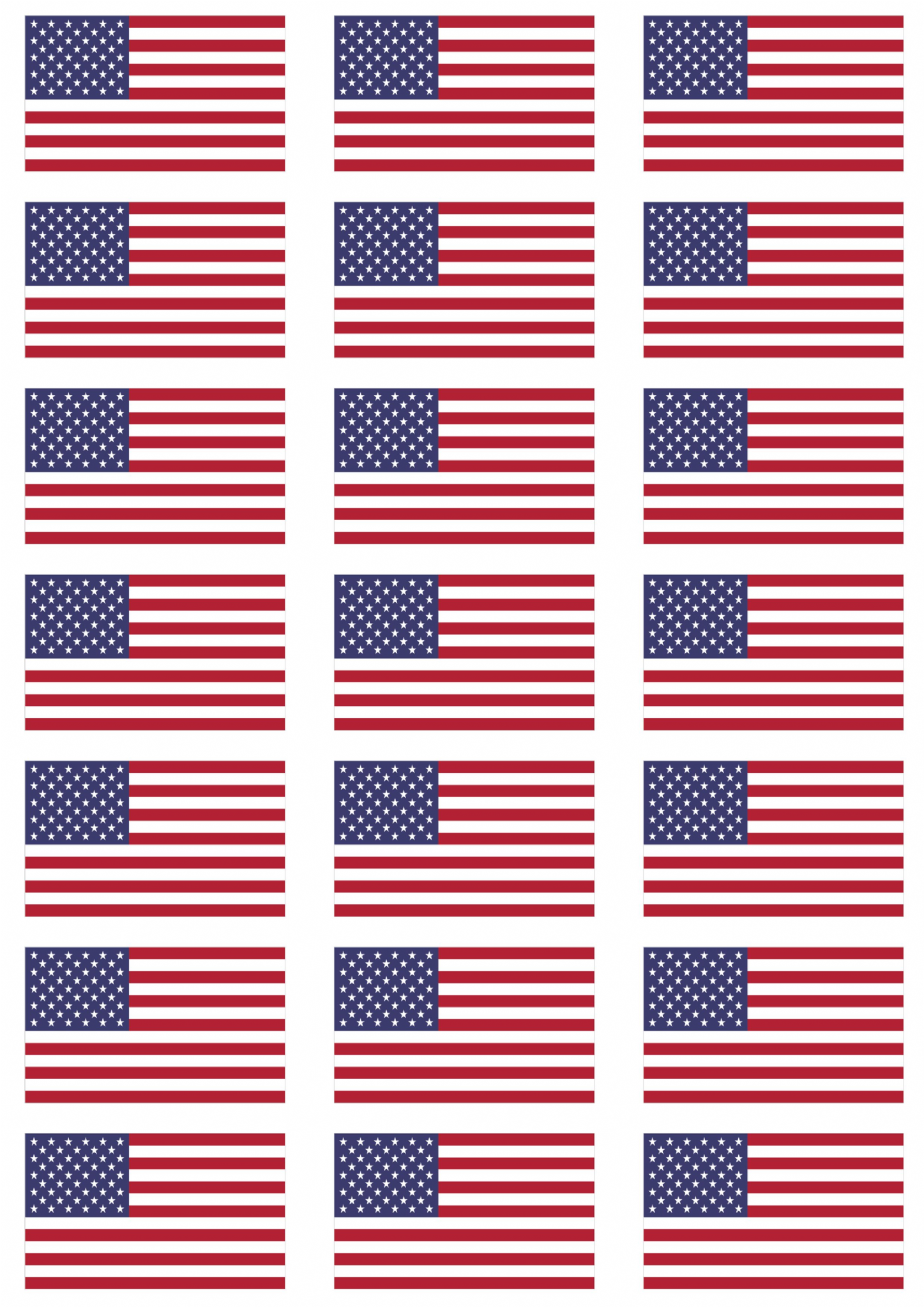 Usa Flag Stickers 21 Per Sheet