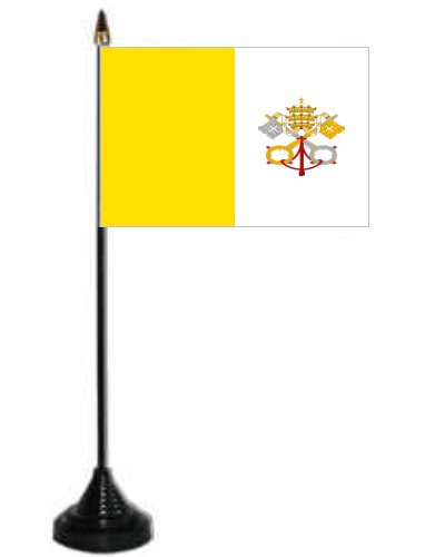 Vatican City Desk / Table Flag With Plastic Stand And Base