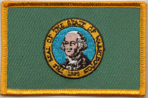 Washington Embroidered Flag Patch, style 08.